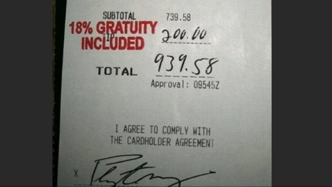 ht Peyton Manning receipt jt 120310 wblog Peyton Manning Leaves Big Tip, Server Fired for Posting Photo
