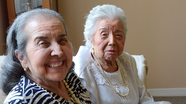 PHOTO: Rosario Schielzeth, right, celebrates her 104th birthday alongside her 87-year-old daughter, Maria Garcia, left, at their Sarasota home, June 13, 2012.