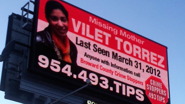 PHOTO: After search warrants on a missing womans home and vehicles and countless dives in local bodies of water, the family of Vilet Torrez is hoping two new billboards will help solve the mystery of what happened to the mother of three.
