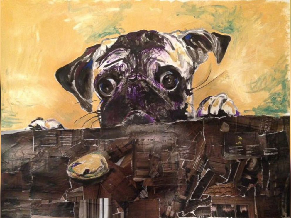 PHOTO: The collage of a pug resting its head on the table is named Pug Appeal.