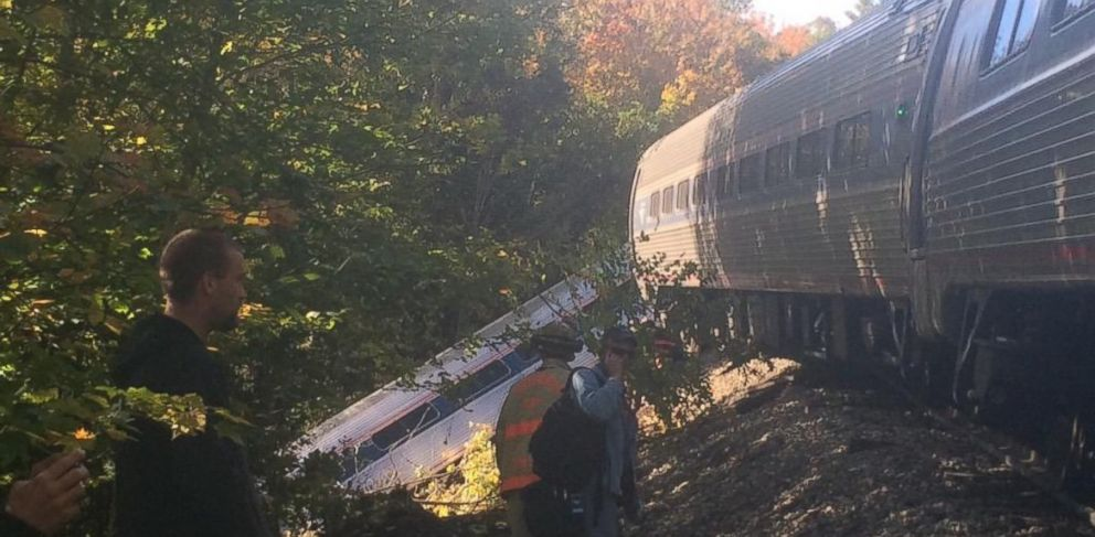 PHOTO: This image was posted to GinaConnTAs Twitter account on Oct. 5, 2015 with the text, Photo of derailment from passenger Sergio Vixopolich.