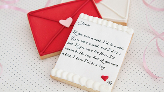PHOTO: Seen here is BB Sweets love letter cookie card, a 'Made in America' gift for Valentine's Day.