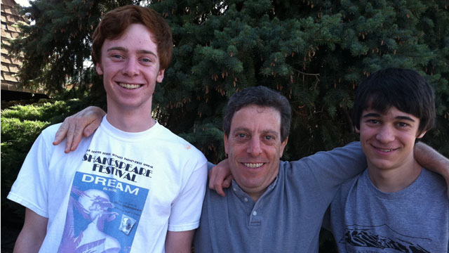 PHOTO: Sam Gottsegen, 17, of Denver, left, seen with his father, Jon, and brother, Ben, 15, survived a bear attack July 23, 2011, in Alaska.