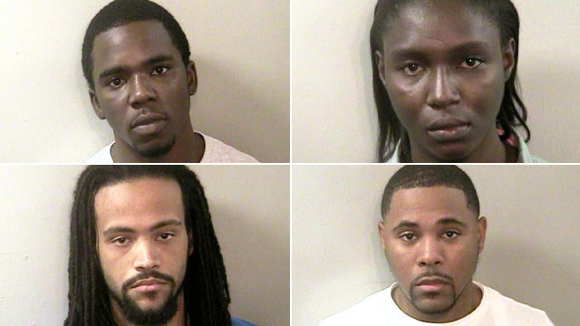 PHOTO: Brandon X. Benson, Anthony Mingo, Hakeem Birch, and Denise Lashawn Bailey were, Jan. 19, 2012, by the Florida A&M University Police Department and are facing hazing charges.