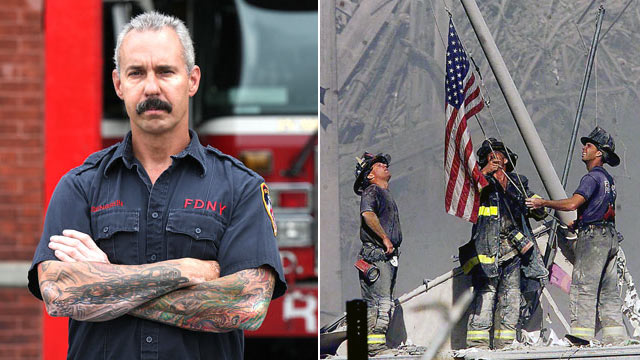 PHOTO: Firefighter Bill Eisengrein of Rescue Company 2 in Brooklyn, New York, is shown, Aug., 2011, left, and raising an American flag out of debris, in this Sept. 11, 2001 file photo, far-right.