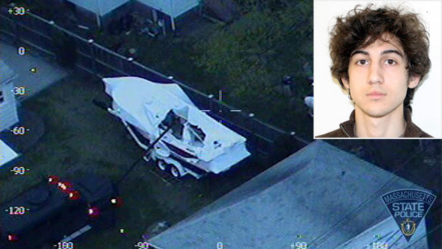 PHOTO: The Massachusetts State Police released aerial photos of Boston bombing suspect Dzhokhar Tsarnaev hiding in a boat before his capture.