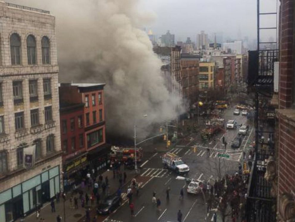 PHOTO: This photo posted to Twitter by Scott Westerfeld shows the aftermath of a building collapse in Manhattan, March 27, 2015.