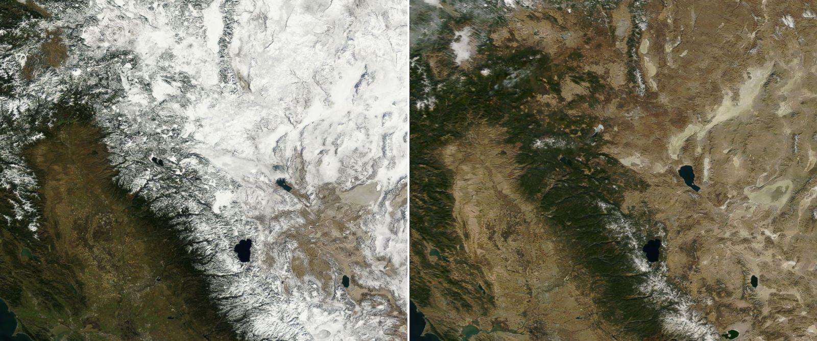 PHOTO: NASAs Terra satellite images made Jan. 18, 2013 and Jan. 18, 2014 illustrate Californias depleted snowpack on the Sierra Nevada, Coast Range and Cascade Mountains.