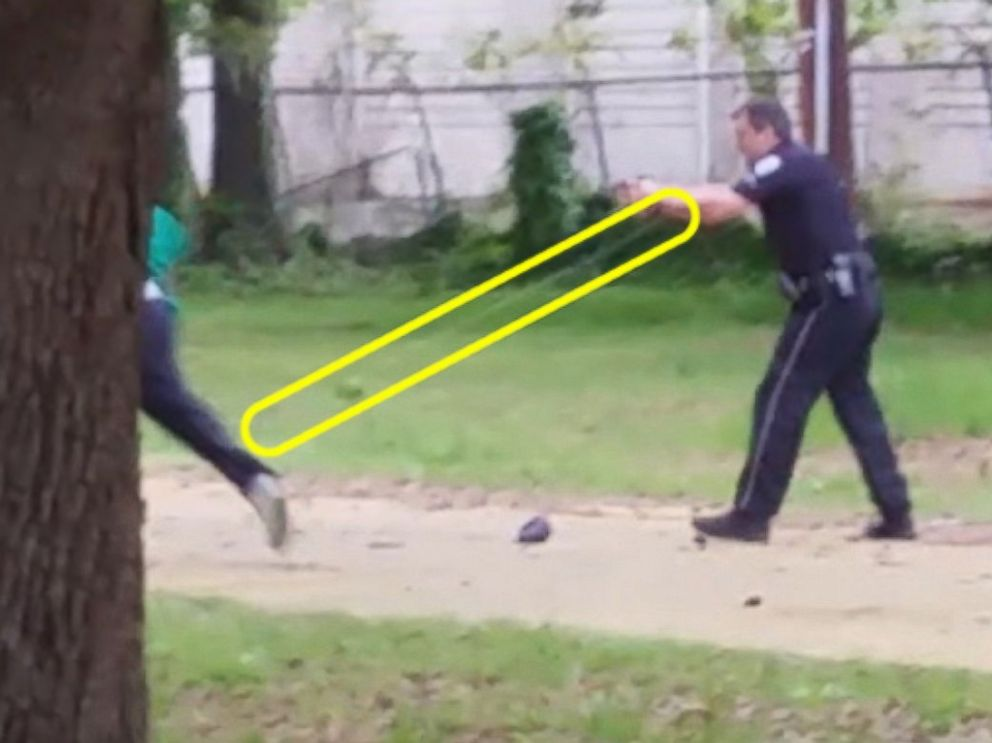 PHOTO: A sequence of images made from a bystander video shows Officer Michael Slager pursuing and then shooting Walter Scott in North Charleston, S.C. on April 4, 2015. The yellow highlighting has been added by ABC News.