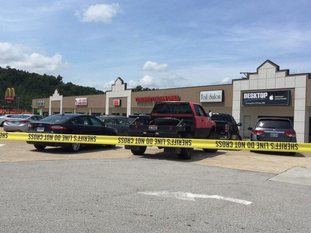 PHOTO: Police tape surrounds the scene of a possible shooting in Chattanooga, Tenn. in a photo tweeted by WTVC reporter Alyssa Spirato on July 16, 2015.