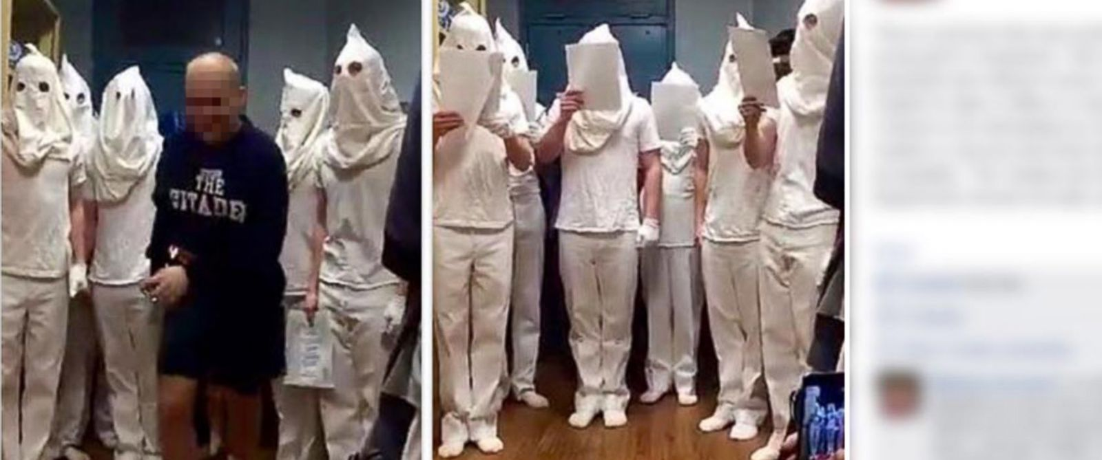 """PHOTO: An image posted to Facebook purports to show a group of cadets singing Christmas carols while wearing white hoods. A statement from The Citadel said that the posting is """"offensive and disturbing."""""""