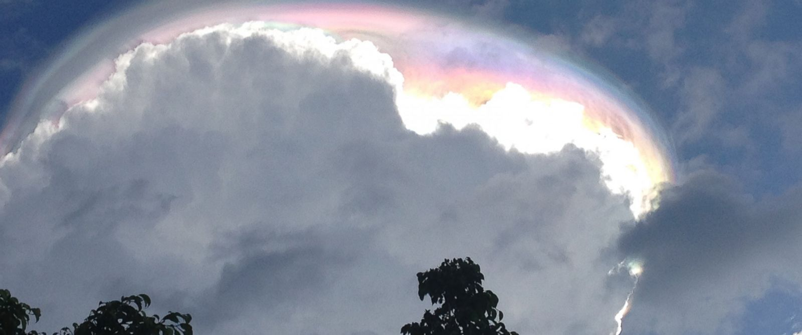 PHOTO: Ariel Joseph Petit, 11, spotted the iridescent cloud phenomenon pictured here on Sept. 15, 2015, in Escazu, Costa Rica.