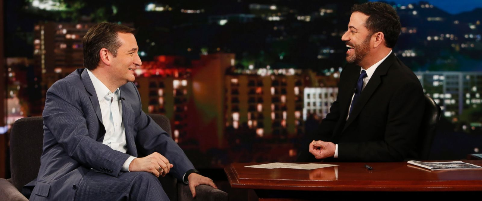 "PHOTO: Ted Cruz on ""Jimmy Kimmel Live!"" on March 30, 2016."
