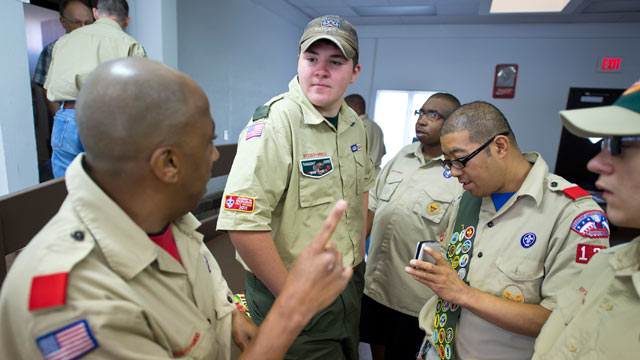 PHOTO: Curry McWilliams, center, of Leavenworth, briefed members of Troop 133 on camping procedures prior to a five-day field trip to Camp Nash. McWilliams, an Eagle Scout in 2008, earned all 132 merit badges a Boy Scout can earn.