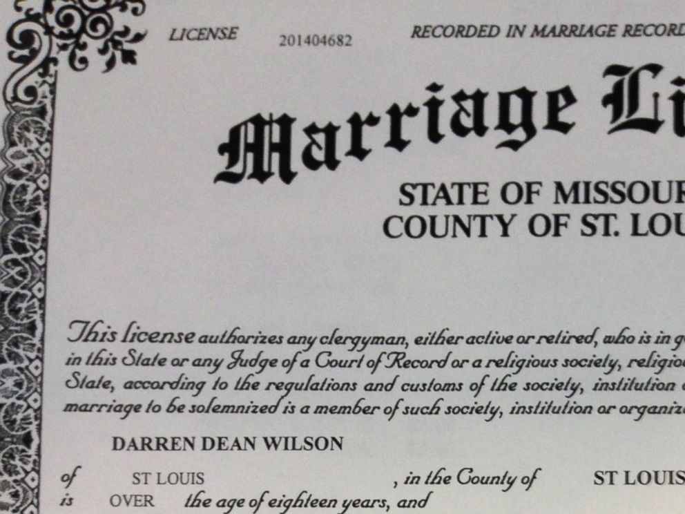PHOTO: Darren Wilson and his girlfriend obtained a marriage license in late October, more than two months after he was put on leave for fatally shooting a teenager.