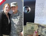 PHOTO: Samantha Ford, 24, of Arlington, Mass., was moved when she found an anonymous note and $40 from a veteran under the windshield wipers on her car in support of her and her boyfriend who is currently deployed to Afghanistan.