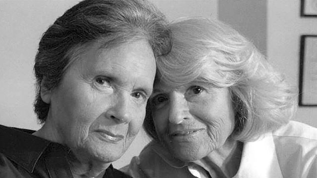 """PHOTO:Seen here is Edith """"Edie"""" Windsor, left, and Thea Spye in a file photo. Windsor commented on the filing by the law firm of King & Spalding seeking to formally intervene in her pending lawsuit defending the Defense of Marriage Act (DOMA)."""
