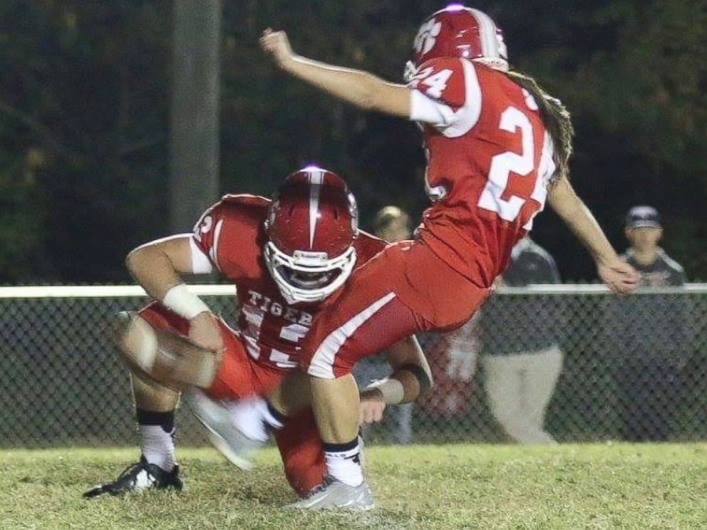 PHOTO: Jodie Farnetti, 17, is pictured here kicking a field goal for the West Blockton High School varsity football team during homecoming on Oct. 16, 2015.