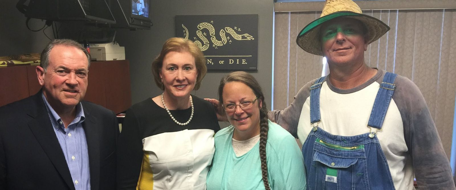 """PHOTO: This photo was uploaded to Mike Huckabees Facebook on Sept. 8, 2015 with the caption, """"I was honored to meet with Kim Davis. A woman of such strong faith and conviction. #ImWithKim."""""""