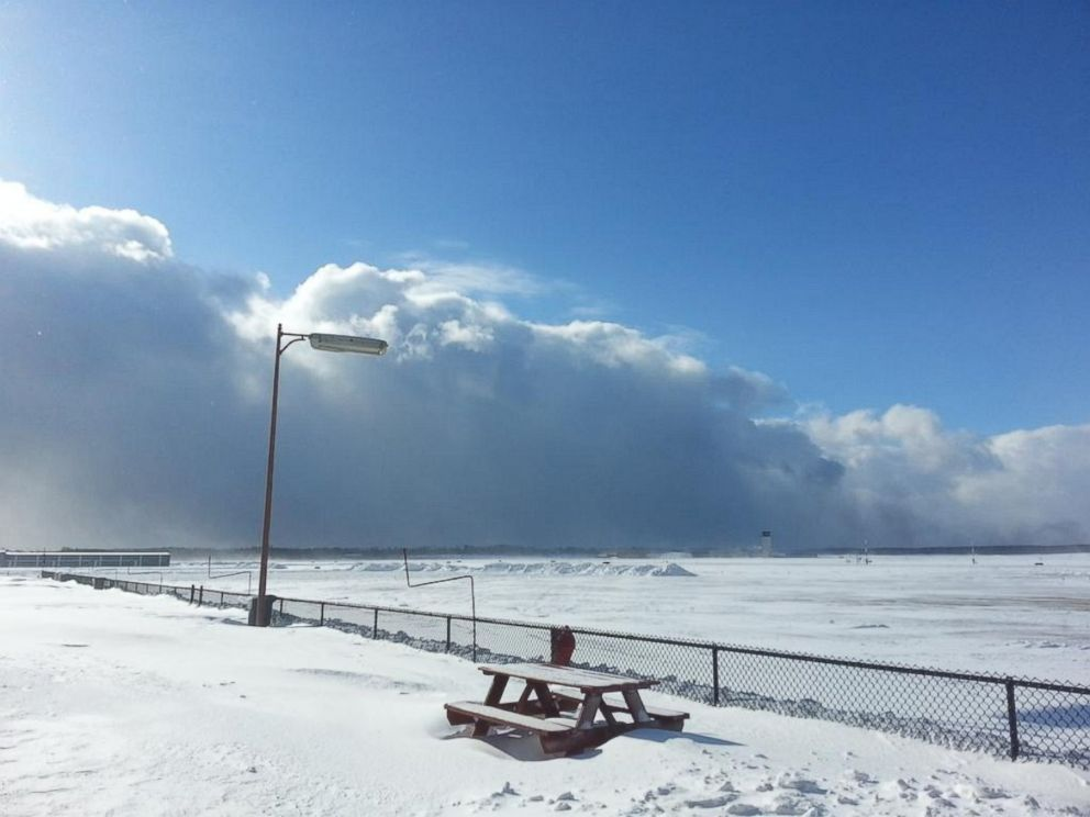 PHOTO: Smoke from the I-94 crash is visible from the WMUs #Aviation campus at the BattleCreek airport, near Kalamazoo, Mich., on Jan. 9, 2015.