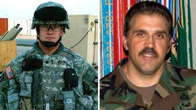 PHOTO: Sgt. Joshua Michael, left, and Sgt. Major Lawrence Boivin were killed after a trailer carrying wounded veterans in a parade was struck by a train in Midland, Texas, Nov. 15, 2012.