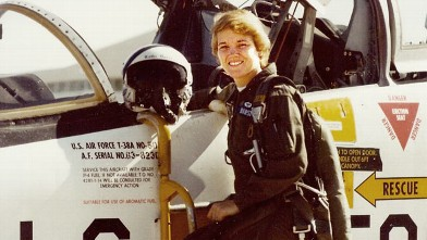 PHOTO: Kathi Durst is shown as a student pilot, learning to fly the T-38 at Williams former Air Force Base in Phoeniz, Ariz., in 1982.