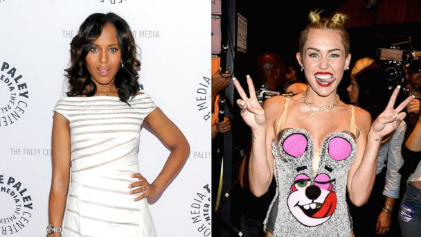 PHOTO: Actress Kerry Washington is seen in this Oct. 2, 2013 file photo while Miley Cyrus is seen in this August 25, 2013 file photo taken in New York.