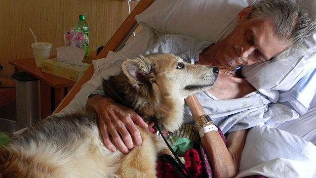 PHOTO:After being admitted to a hospice, Kevin McClains main worry was not for himself, but his dog Yurt.
