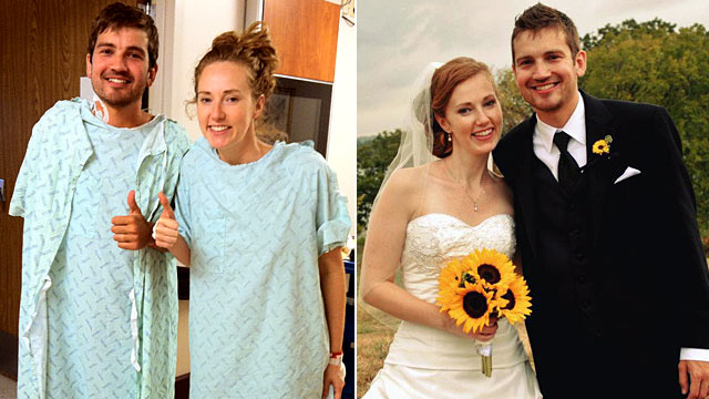PHOTO: Jonathan and Caitlin Woodlief doing well after transplant surgery, left, and Jonathan and Caitlins wedding in October.