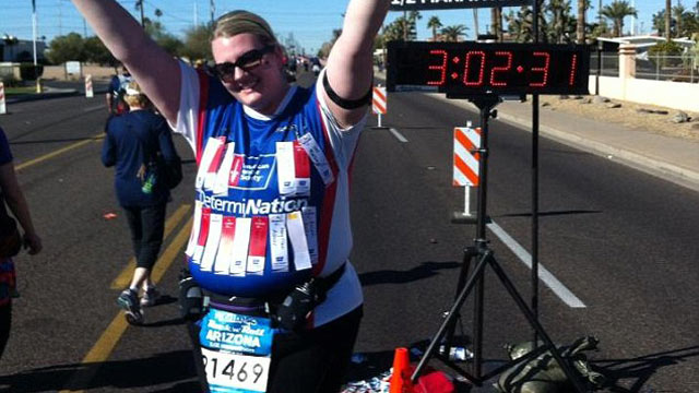 PHOTO: The day after running a half marathon, Laura Smith was refused a massage because of her weight.