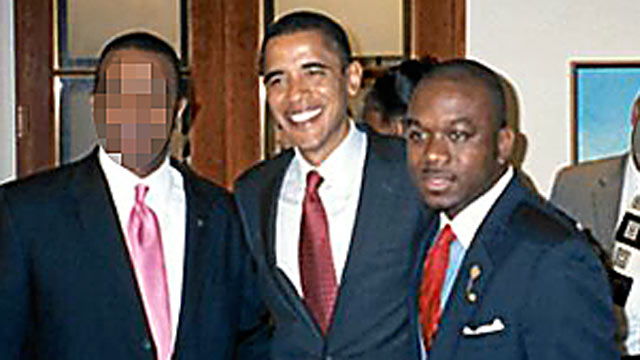 PHOTO: Marco McMillian, right, poses in an undated photo with Barack Obama that appeared on McMillians professional website where he announced his run for mayor of Clarksdale, Miss.