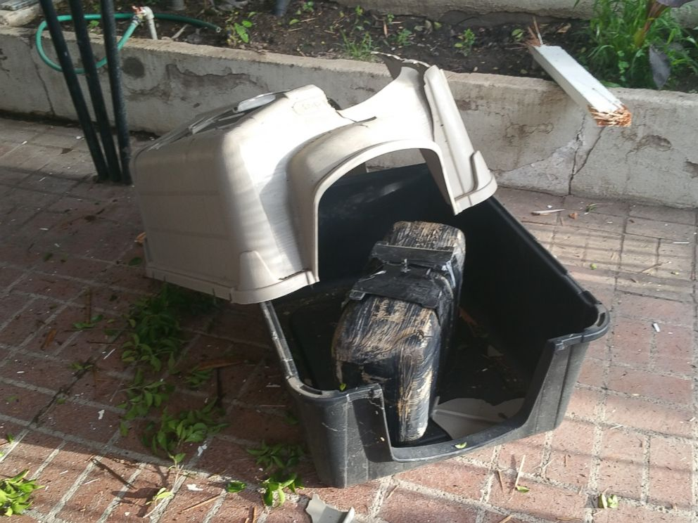 PHOTO: A 23-pound package of marijuana crashed through the roof of a carport and into a dog crate at a home in Nogales, Ariz. on Sept. 8, 2015.