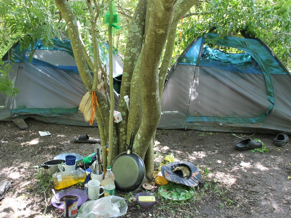 PHOTO: This is the campsite the two individuals ran from when the rancher approached. Clothing, groceries and cooking utensils were among items left behind.
