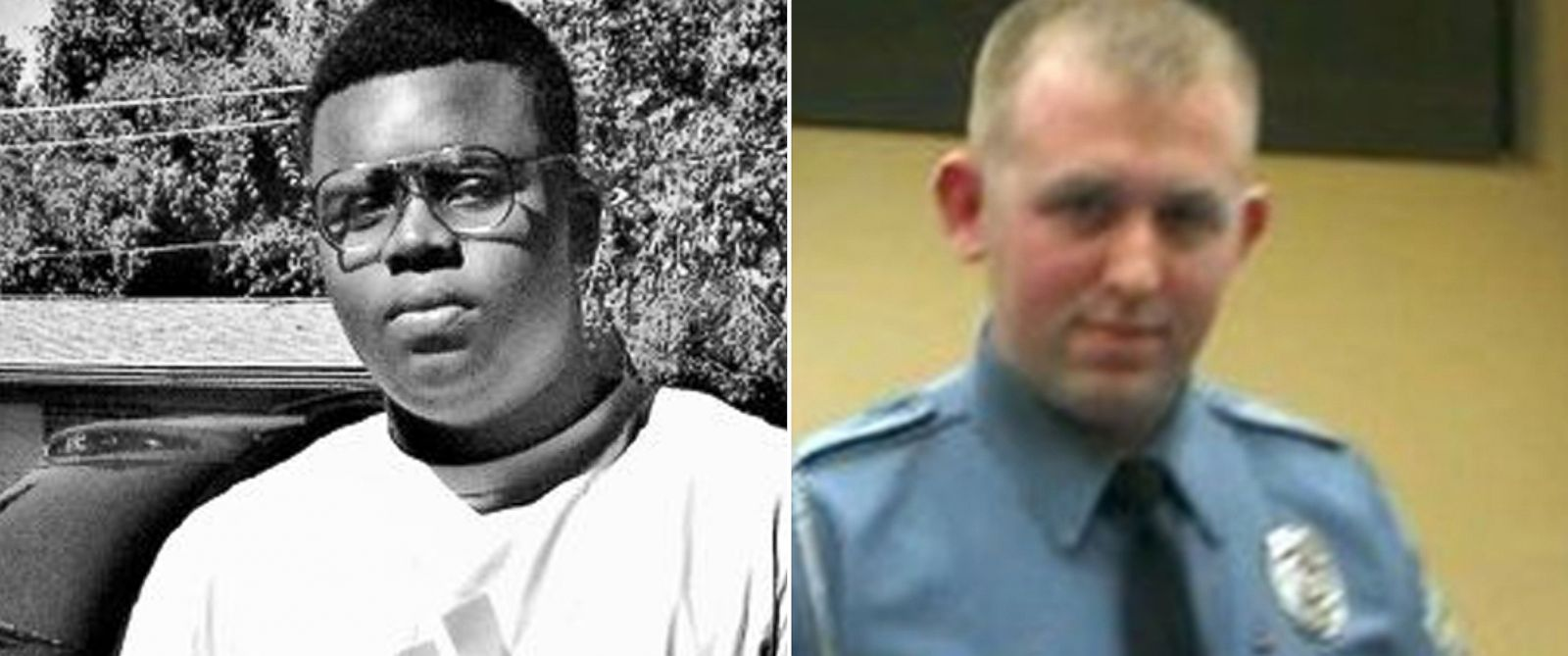 PHOTO: Michael Brown, left, is seen in this photo posted to Facebook. Ferguson police Officer Darren Wilson, shown in this screen shot via Facebook, earned police honor before fatal shooting.