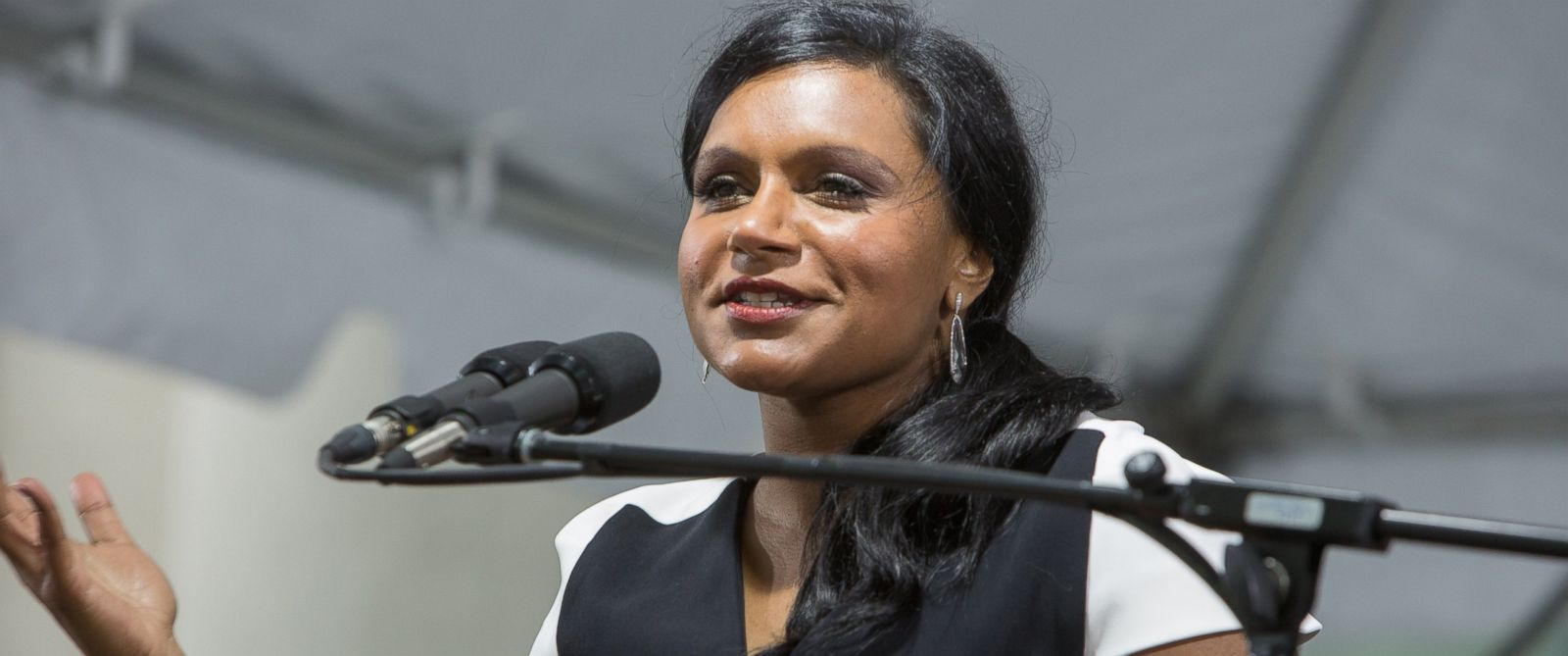 Actress Mindy Kaling speaks at Harvard Law School Class Day 2014 ceremonies on May 28, 2014.