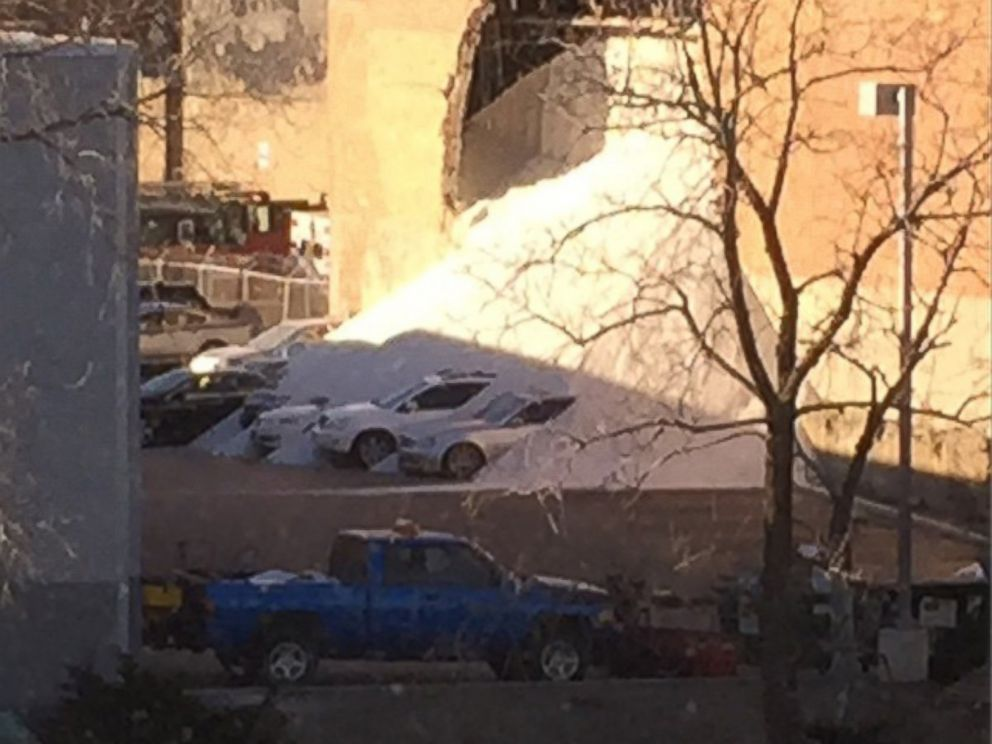 PHOTO: Peter Muller posted this photo on Dec. 30, 2014 with the caption, The @mortonsalt factory next door to my office just collapsed and salt is pouring into the parking lot!