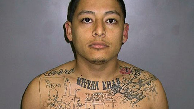 PHOTO: Mugshot of gang member Anthony Garcia, with a tattoo of a murder he committed on his chest, in this undated file photo.