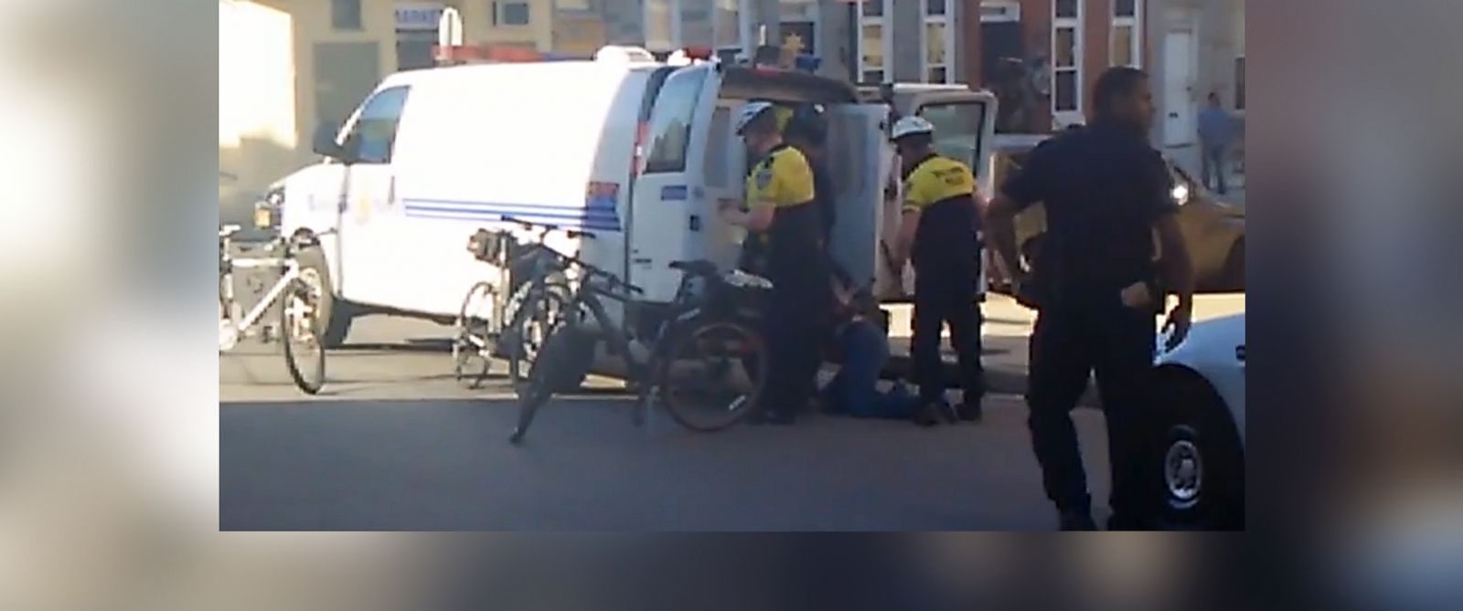 PHOTO: The Baltimore Sun has published cell phone video of police officers surrounding Freddie Gray after he was taken into police custody on April 12, 2015.