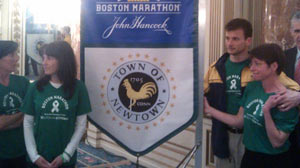 PHOTO: A group of parents from Newtown, Conn. is running the Boston Marathon on April 15, 2013 in memory of the 26 people killed in the mass shooting in Connecticut in December. Laura Nowacki (far right) says ?We?re all parents. We?re Sandy Hook parents.