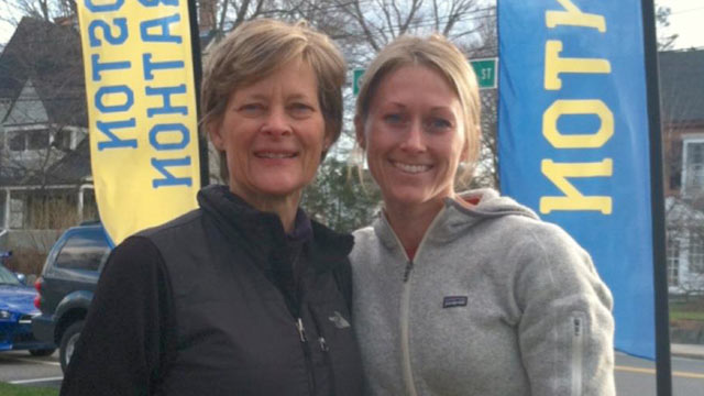 PHOTO: Carol Downing and her daughter Nicole Gross, at the start of the Boston Marathon. Gross was injured in the blast.