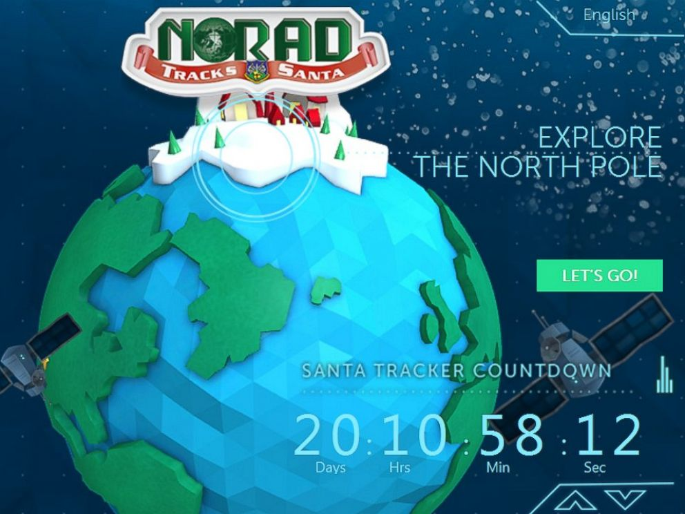 PHOTO: The NORAD Tracks Santa website, seen in a screen grab made on Dec. 3, 2014, displays a countdown until Christmas Eve.