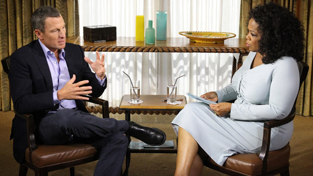 PHOTO: Oprah Winfrey interviews Lance Armstrong in Austin, Texas .