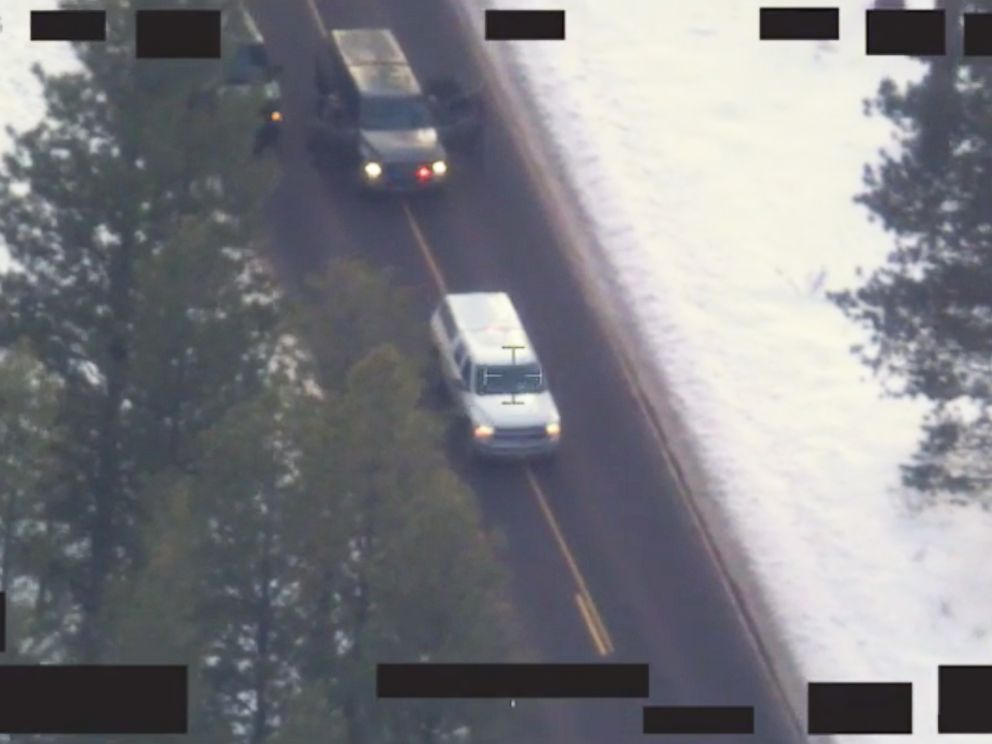 PHOTO: The FBI released video on Jan. 28, 2016, showing the pursuit, traffic stop and deadly shooting of Robert LaVoy Finicum in Oregon on Jan. 26, 2016.