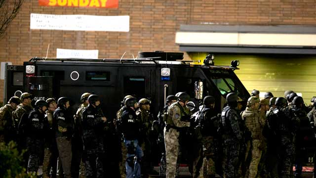 PHOTO: More than a hundred armed police officers responded to the Clackamas Town Center mall after reports of a shooting, Clackamas, Oregon, Dec. 11, 2012.