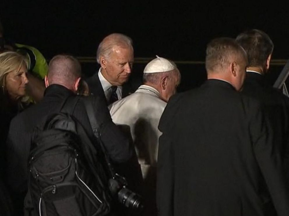 PHOTO: Pope Francis and Joe Biden are pictured at the airport in Philadelphia, prior to the Popes departure, on Sept. 27, 2015.