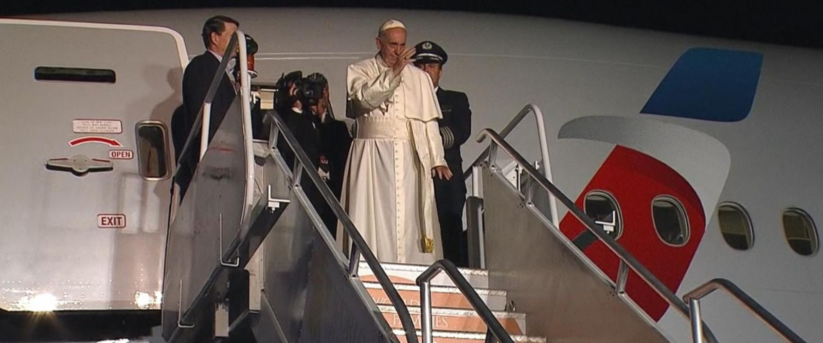 PHOTO: Pope Francis is pictured at the airport in Philadelphia, prior to his departure on Sept. 27, 2015.