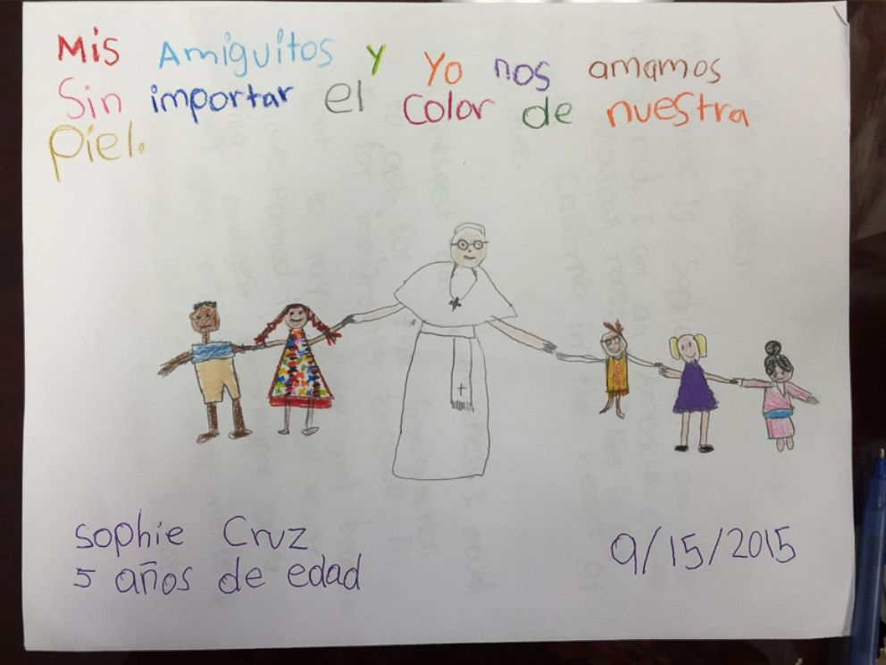 PHOTO: Five-year-old Sophia Cruz wrote a letter to Pope Francis, which she gave to him when he blessed her during his papal visit to Washington, Sept. 23, 2015.
