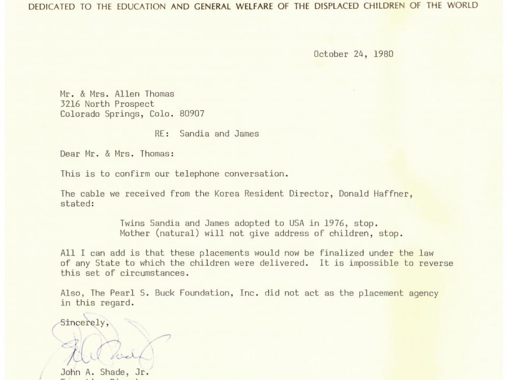 PHOTO: Allen Thomas received this letter from the Pearl S. Buck Foundation, which confirmed that Thomas his twins were adopted into the United States in 1976.