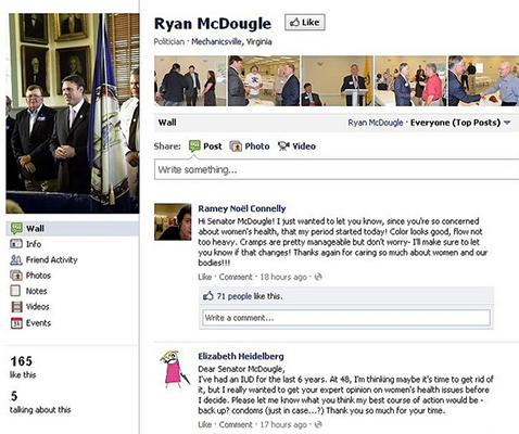 ht ryan mcdougal facebook nt 120316 blog Republican Politicians Sarcasm Bombed With Female Health Details on Facebook Walls