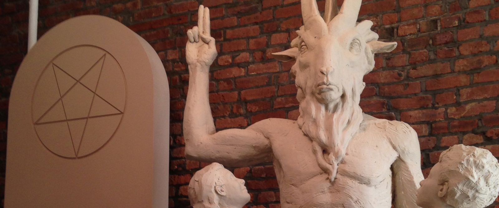 """PHOTO: Unfinished statue of Satan as Baphomet, a """"goat-headed, angel-winged, androgynous creature."""""""